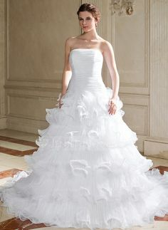Wedding Dresses - $239.99 - Ball-Gown Strapless Chapel Train Organza Wedding Dress With Ruffle (002004775) http://jenjenhouse.com/Ball-Gown-Strapless-Chapel-Train-Organza-Wedding-Dress-With-Ruffle-002004775-g4775