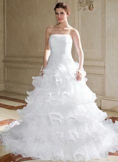 Wedding Dresses - $239.99 - Ball-Gown Strapless Chapel Train Organza Wedding Dress With Ruffle (002004775) http://jenjenhouse.com/Ball-Gown-Strapless-Chapel-Train-Organza-Wedding-Dress-With-Ruffle-002004775-g4775