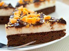 Tvarohový dezert z pečeného korpusu, zdobený čokoládovou polevou Dessert Recipes, Desserts, Tiramisu, Cheesecake, Pie, Pudding, Ethnic Recipes, Food, Treats