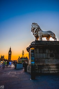 Westminster Bridge, London, England. Have been at this very spot several times and never noticed this lion! Too busy looking at Big Ben, the Thames, London Eye.