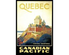 Chateau Frontenac Quebec 1930 Canadian Pacific Railroad Vintage Poster Retro Art Print Train Travel Advertisement Free US Post Low Euro Post by VintagePosterPrints on Etsy