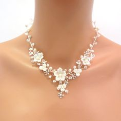 Bridal flower necklace and earrings Wedding by TheExquisiteBride