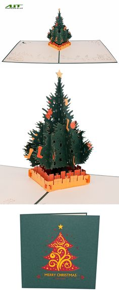 AITpop Christmas tree (Green) hand-crafted greeting card 3D Pop Up Card.#Christmas gift
