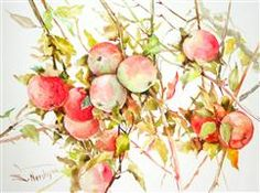 "Original art for sale at UGallery.com | Red Green Apples on Tree by Suren Nersisyan | $450 | watercolor painting | 15"" h x 2"" w"