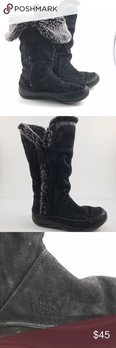 Black North Face Winter Boots Size 9 Black north face primaloft winter boots Woman's size 9. Pre-owned. Some wear to front/toe area. Can be worn all the way up or flipped over to see black/gray fur. Super warm for those cold winters! The North Face Shoes Winter & Rain Boots