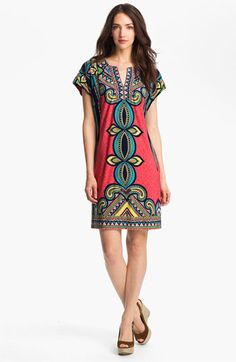 Would be super cute with some knee high calfskin boots. Yum! Laundry by Shelli Segal Print Jersey Shift Dress available at #Nordstrom