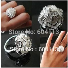 R005 // Factory Price 925 jewelry hot sale silver plated The roses Rings,  wholesale fashion New Big promotion Rose Rings