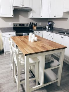 39 Super Ideas Diy Kitchen Island With Seating Ikea Cabinets Kitchen Island With Seating Ikea, Kitchen Island Table, Farmhouse Kitchen Island, Small Kitchen Tables, Small Space Kitchen, Grey Kitchen Cabinets, Kitchen Cabinet Design, Ikea Kitchen, Kitchen Layout