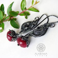 Ruby buds  sterling silver wire wrapped jade ruby by AlabamaStudio