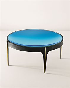 Colored Mirror Glass Painted Metal And Brass Occasional Table By Fontana  Arte