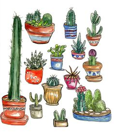 Buy2get1FREE Cactus watercolor painting Print by HippieHoppy