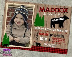 Bear Birthday Invitation With Photo WIld One Invite First Birthday Lumberjack Buffalo Plaid Photo Birthday Invitations, Bear Party, Bear Birthday, Woodland Party, Wild Ones, Party Items, Buffalo Plaid, Custom Photo, Party Printables