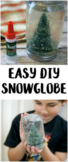 Christmas crafts don't have to be hard! This easy DIY Snowglobe lets you use whatever cute decoration you want, along with a mason jar and some Krazy Glue, to make your own unique, homemade creation! #KrazyKristmas #sponsored @InstantKG