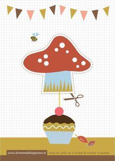 Herfst! Knutsel zelf een paddestoel voor op je taartje met de knipkaart. Ook leuk op een stapel pannenkoekjes, bij het ontbijt :-)
