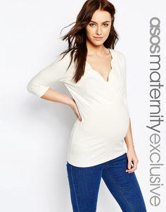1089edafdcdbe ASOS Maternity NURSING Scallop Wrap Top Maternity Nursing, Maternity Tops,  Maternity Fashion, Asos