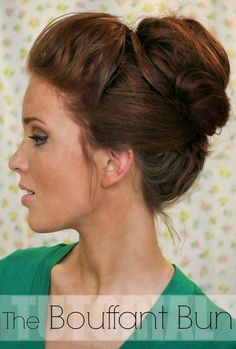 Hair Tutorial: The Bouffant Bun - The Freckled Fox (easy chignon step by step) Latest Hairstyles, Bun Hairstyles, Pretty Hairstyles, Wedding Hairstyles, Updo Hairstyle, Wedding Updo, Fox Wedding, Quinceanera Hairstyles, Bun Updo