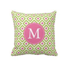 Monogrammed Lime Green Pink Diamonds Ikat Pattern Personalized Throw Pillow