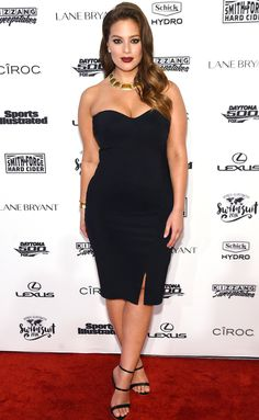 Ashley Graham in a strapless black dress