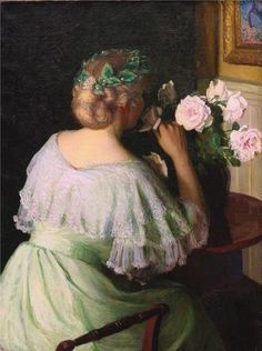 Perry, Lilla Cabot (b,1848)- Woman Smelling Roses