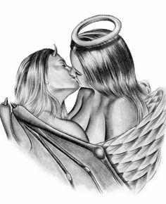 devil and angel kiss 1 by asussman on DeviantArt Angel Devil Tattoo, Guardian Angel Tattoo, Demon Tattoo, Angel And Devil, Evil Angel, Angel Y Diablo, Transférer Des Photos, Demon Drawings, Angel Artwork