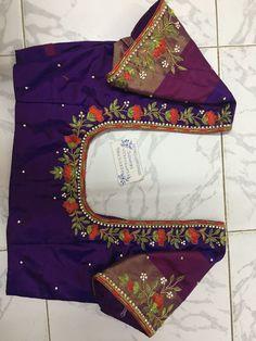 New Saree Blouse Designs, Cutwork Blouse Designs, Simple Blouse Designs, Stylish Blouse Design, Neck Designs For Blouse, Sari Blouse, Sari Design, Maggam Work Designs, Simple Embroidery Designs