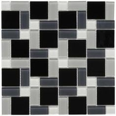 SomerTile 12x12-in View Block Black/White Glass Mosaic Tile (Case of 20)