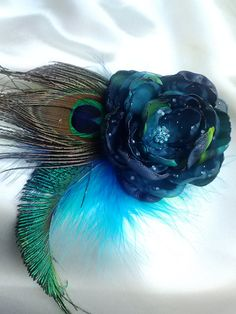 Serenity peacock flower, peacock feather fascinator, teal, blue, and green flower with feathers, wedding/photography prop