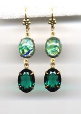 EMERALD Sea green FIRE OPAL cut-crystal EARRINGS 14K Gold gp *Vintage Czech