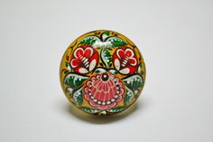 Hand painted Ring Wooden Cabochon Nickel-plated by IGORartPAINTING