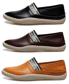 Men Hand Stitching British Style Doug Shoes Slip On Soft Leather Loafers