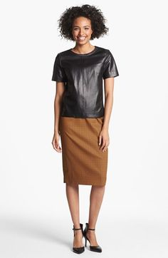 Halogen® Leather Front Top & Pencil Skirt  available at #Nordstrom #nsale