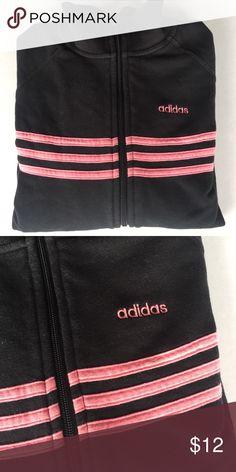 Adidas Sweater Black w/ pink stripes & logo• 2 side pockets• zip up • used Adidas Sweaters
