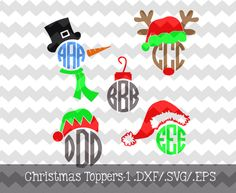 Christmas Monogram Toppers-1 .DXF/.SVG/.EPS Files for use with your Silhouette Studio Software by KitaleighBoutique on Etsy https://www.etsy.com/listing/201023418/christmas-monogram-toppers-1-dxfsvgeps