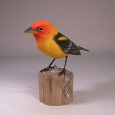 Western Tanager Hand Carved Wooden Bird by jjstudio on Etsy, $165.00
