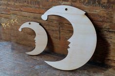 2 pcs Wooden Big and small  crescents Christmas decor by PSLavka