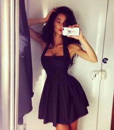 dress sexy black black dress iphone selfie accessories clothes skater dress halter dress little black dress bag mini dress halter top sleeveless short dress elegant hot summer halter neck dress trendy fashion party dress girly cute style feminine lbd dress beautifulhalo