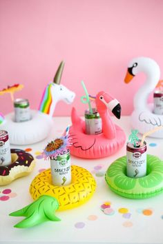 Bachelorette party idea - Pineapple, flamingo, unicorn and donuts drink floats {Courtesy of Oh Happy Day}