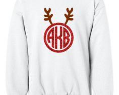 Personalized deer circle monogram GLITTER monogram sweatshirt crewneck for Girls Christmas Gift
