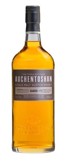 Auchentoshan single malt scotch whisky, 'Classic',  is tripled distilled & matured solely in American bourbon casks. It has the sweet aromas of vanilla & coconut.