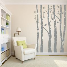 Tree Wall Decal Birch Tree Decal Wall Decal Nursery by LucyLews