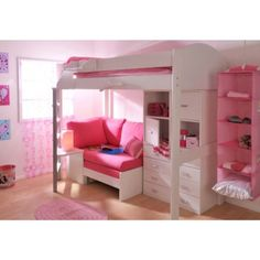 Stompa Combo Kids White Highsleeper Bed with Lilac Sofa Bed Chest and Storage