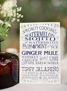Signature Drink Ideas: Cocktails. Photo by Jose Villa via Society Bride.