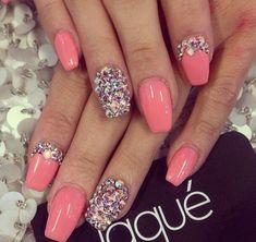 Coral coloured nails # accented diamond nail # love this nail art