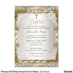 Shop Wedding Anniversary Vintage Gold Beige Photo Invitation created by Zizzago.