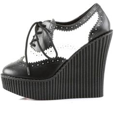 Demonia CREEPER-307 Wedge Platform Brogue Shoe Black/White ($39) ❤ liked on Polyvore featuring shoes, black and white shoes, wedge lace up shoes, platform shoes, vegan shoes and black and white wedge shoes