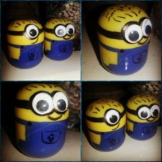 How to make minions out of kinder surprise! Nailpaint in blue, eyes, and a black marker. And ofc. The yellow box from a kinder egg .. To make it a little more heavy, put rice inside.