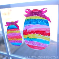 Make some pretty crayon resist easter egg window decorations! It's a fun easter craft for kids to make.