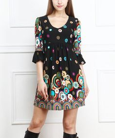 Look what I found on #zulily! Black Abstract Daisy Ruffle-Sleeve Dress by Reborn Collection #zulilyfinds