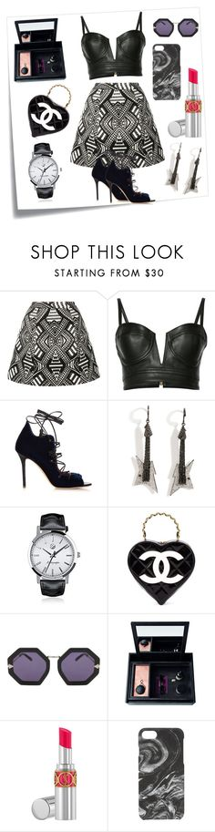 """""""Black & White Forever..**"""" by yagna ❤ liked on Polyvore featuring Post-It, Alice + Olivia, Balmain, Malone Souliers, Lynn Ban, Montegrappa, Chanel, Karen Walker, Nomess and Yves Saint Laurent"""