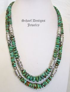 Schaef Designs Hubei Turquoise & sterling silver Southwestern basics tube bead Necklace | New Mexico